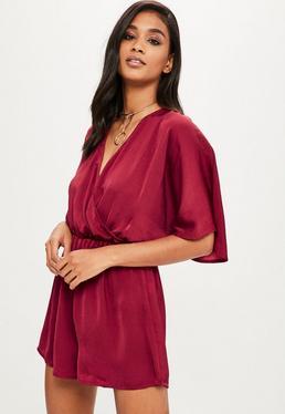 Burgundy Hammered Satin Kimono Sleeve Romper