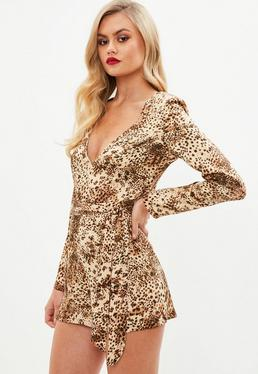 Brown Leopard Print Plunge Playsuit