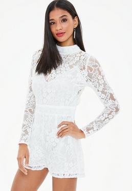White Corded Lace Long Sleeve Playsuit