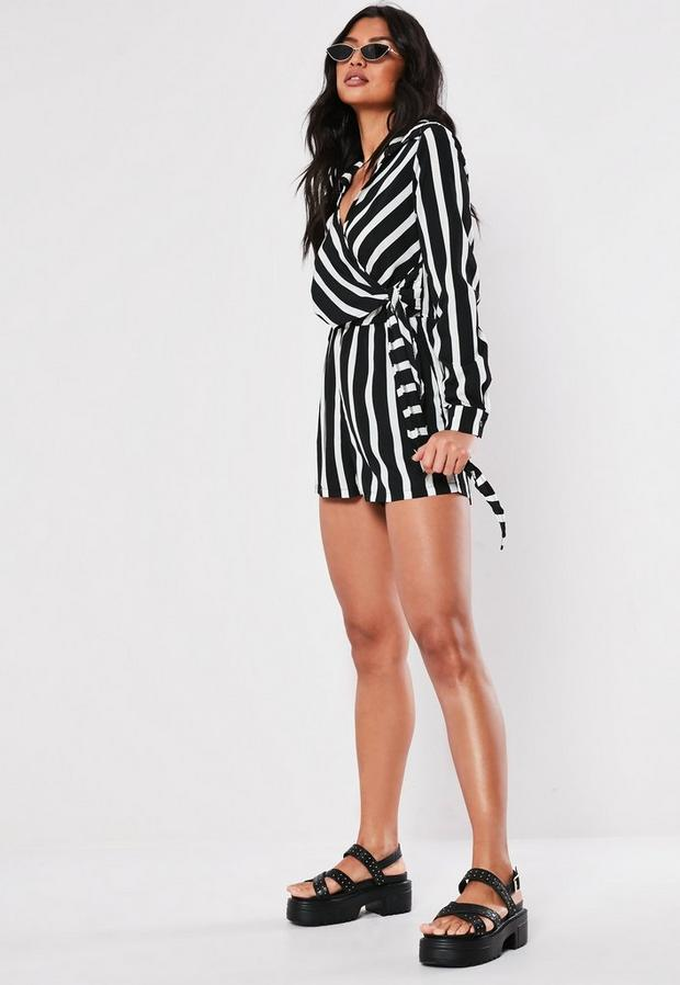 Missguided - Wrap Front Striped Shirt Playsuit - 2