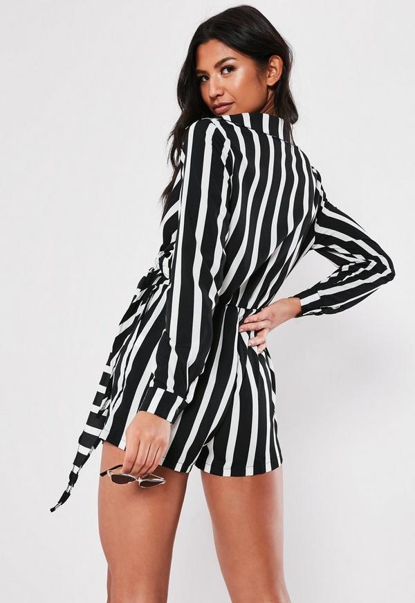 5e9555bb47d5 White Wrap Front Striped Shirt Playsuit. Previous Next
