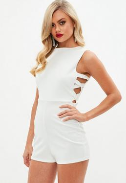 White Cut Out Side Playsuit