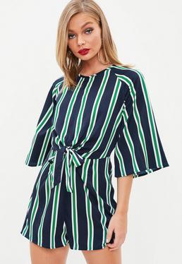 Navy Striped Tie Front Kimono Sleeve Romper
