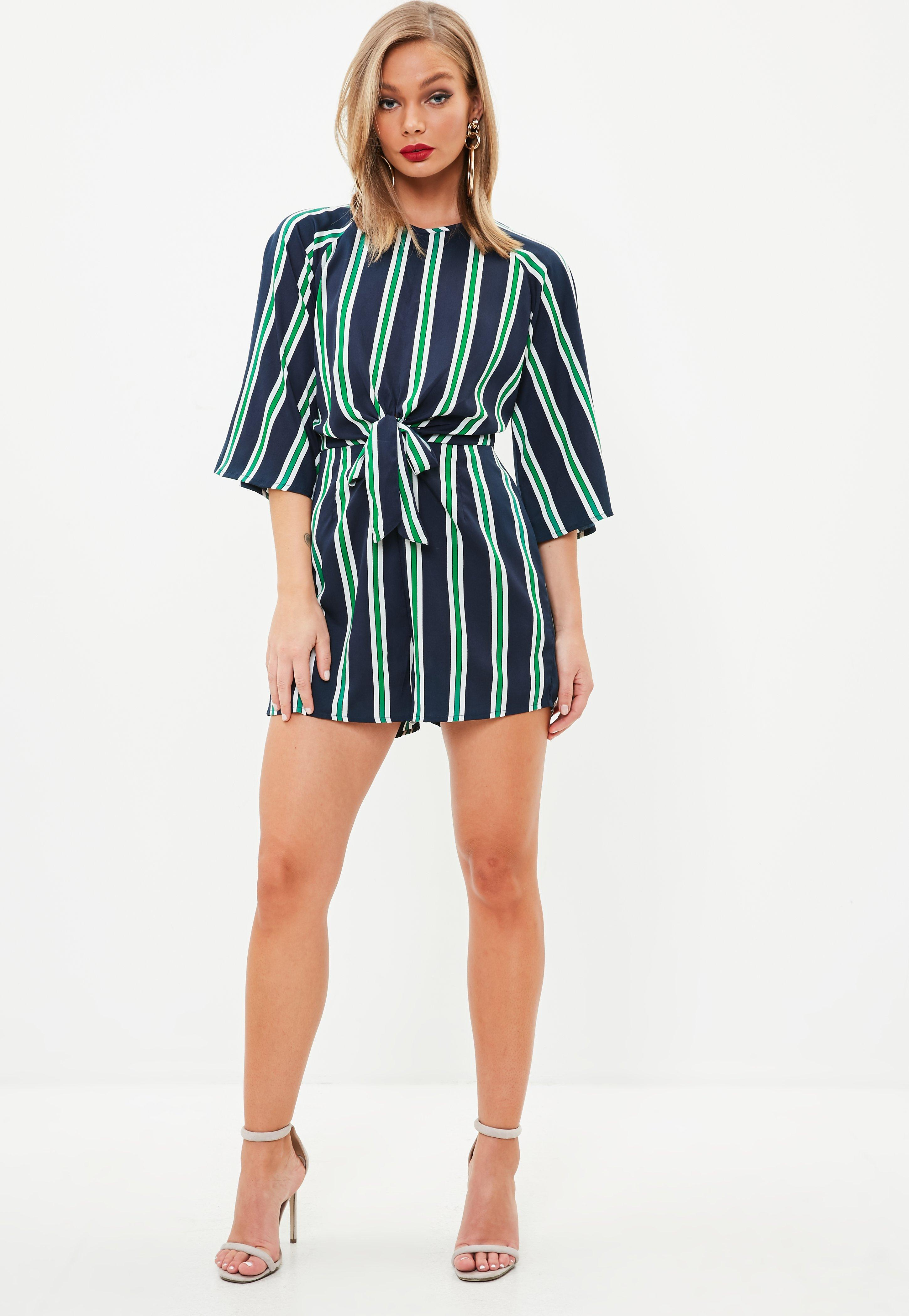 Missguided Stripe Tie Front Playsuit Sale Nicekicks Cheap Shop Offer Cheap Sale Low Shipping Fee tfbr0z1Gpz