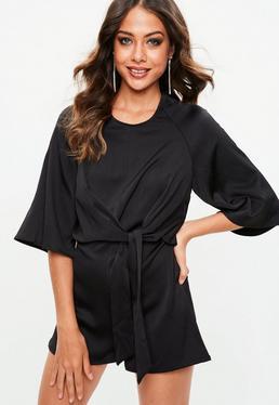 Black Tie Front Kimono Sleeve Romper