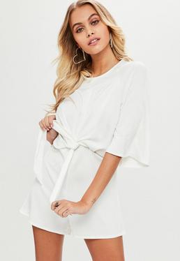 White Tie Front Kimono Sleeve Playsuit