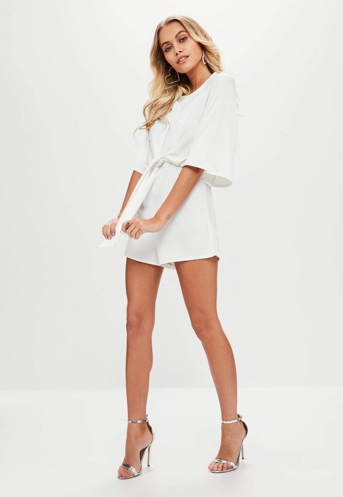 aa7f1097f01f Missguided - White Tie Front Kimono Sleeve Playsuit