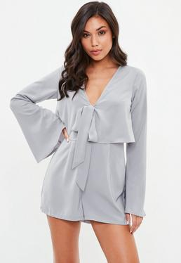 Gray Overlay Tie Front Flare Romper