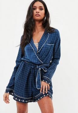 Navy Contrast Print Pajama Romper