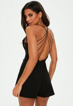 Black Strappy Back V Front Playsuit