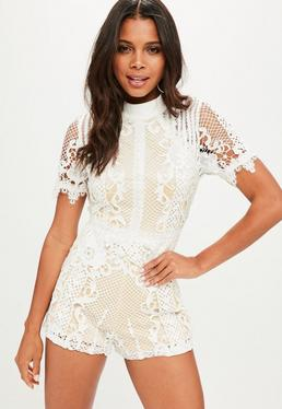 White High Neck Playsuit