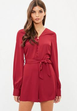 Red Button Front Detail Playsuit