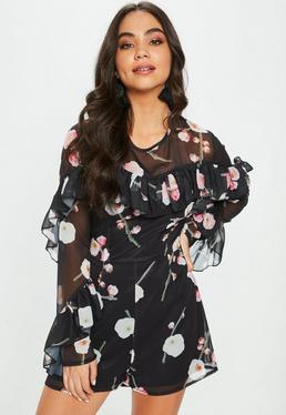 Black Floral Ruffle Front Romper