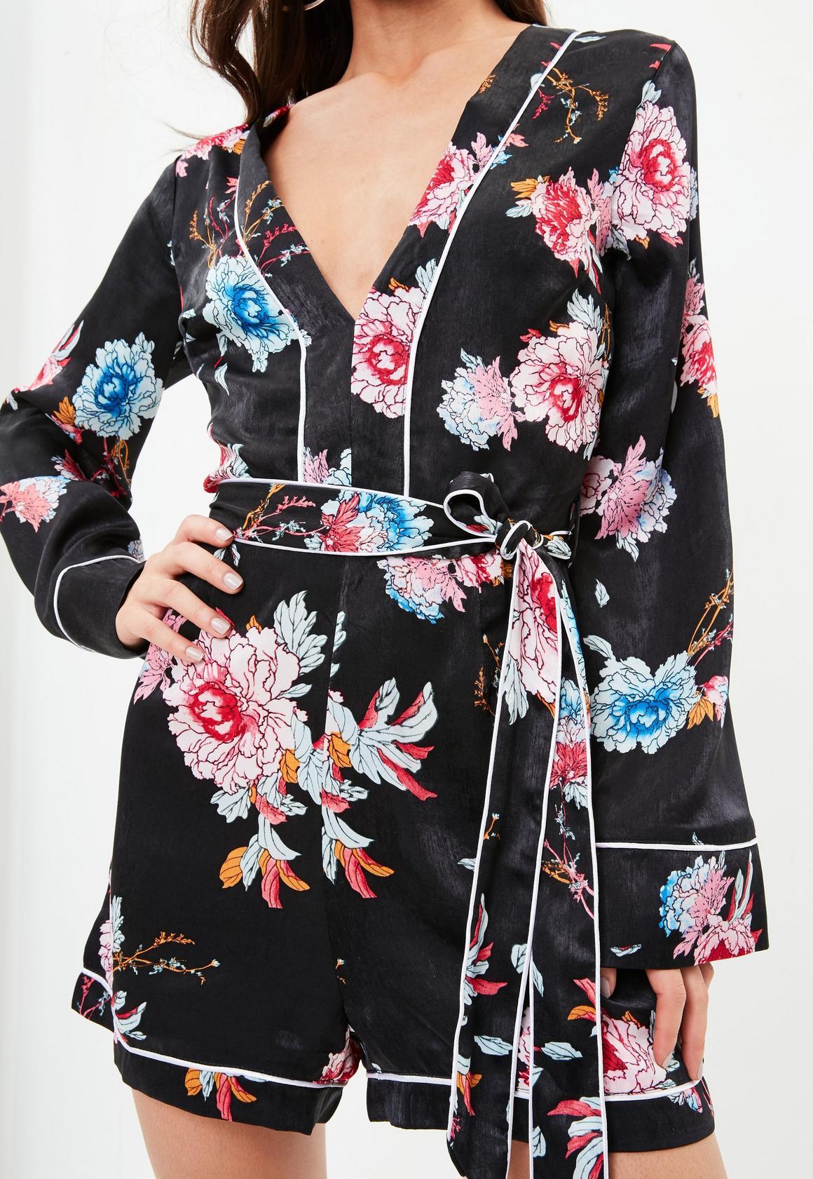 19dd80a0ca Missguided - Black Pyjama Style Tie Floral Playsuit