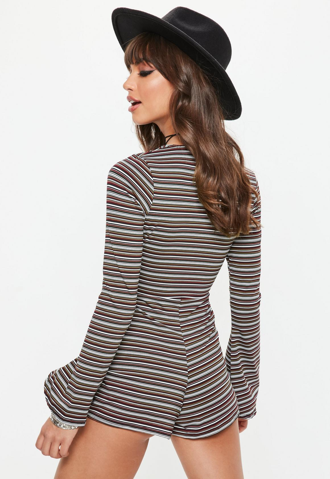 1a2e5c59433 Missguided - Black Stripe Plunge Flared Sleeve Playsuit