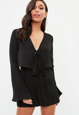 Black Overlay Tie Front Flare Playsuit