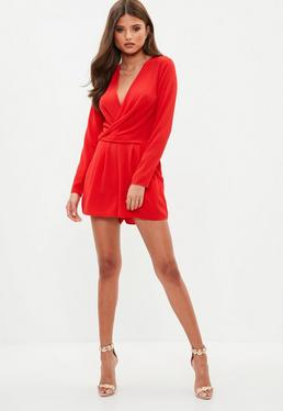 Red Plunge Front Wrap Romper