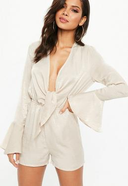 Beige Satin Wrap Front Playsuit