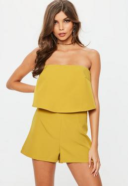 Mustard Double Layer Bardot Playsuit