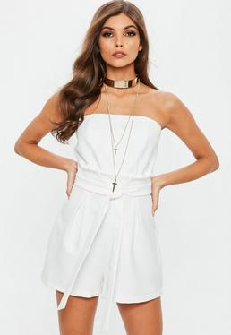 White Paperbag Waist Bandeau Playsuit