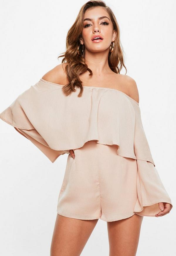 16be9dc067e Nude Bardot Double Layer Playsuit