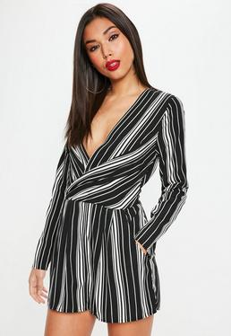 Black Stripe Plunge Front Wrap Playsuit