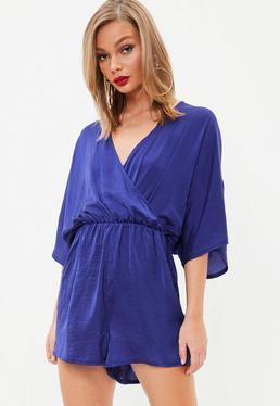 Blue Hammered Satin Kimono Sleeve Romper