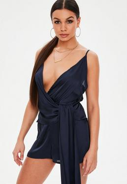 Navy Wrap Front Drape Detail Strappy Playsuit