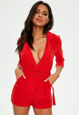 Red Wrap Blazer Playsuit