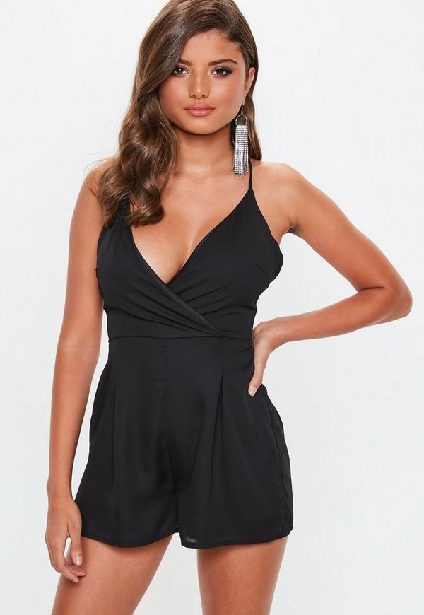 25a9cbecaf2 Black Wrap Strappy Playsuit