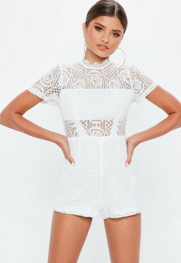 db25a0266573 Ivory Lace Short Sleeve Playsuit
