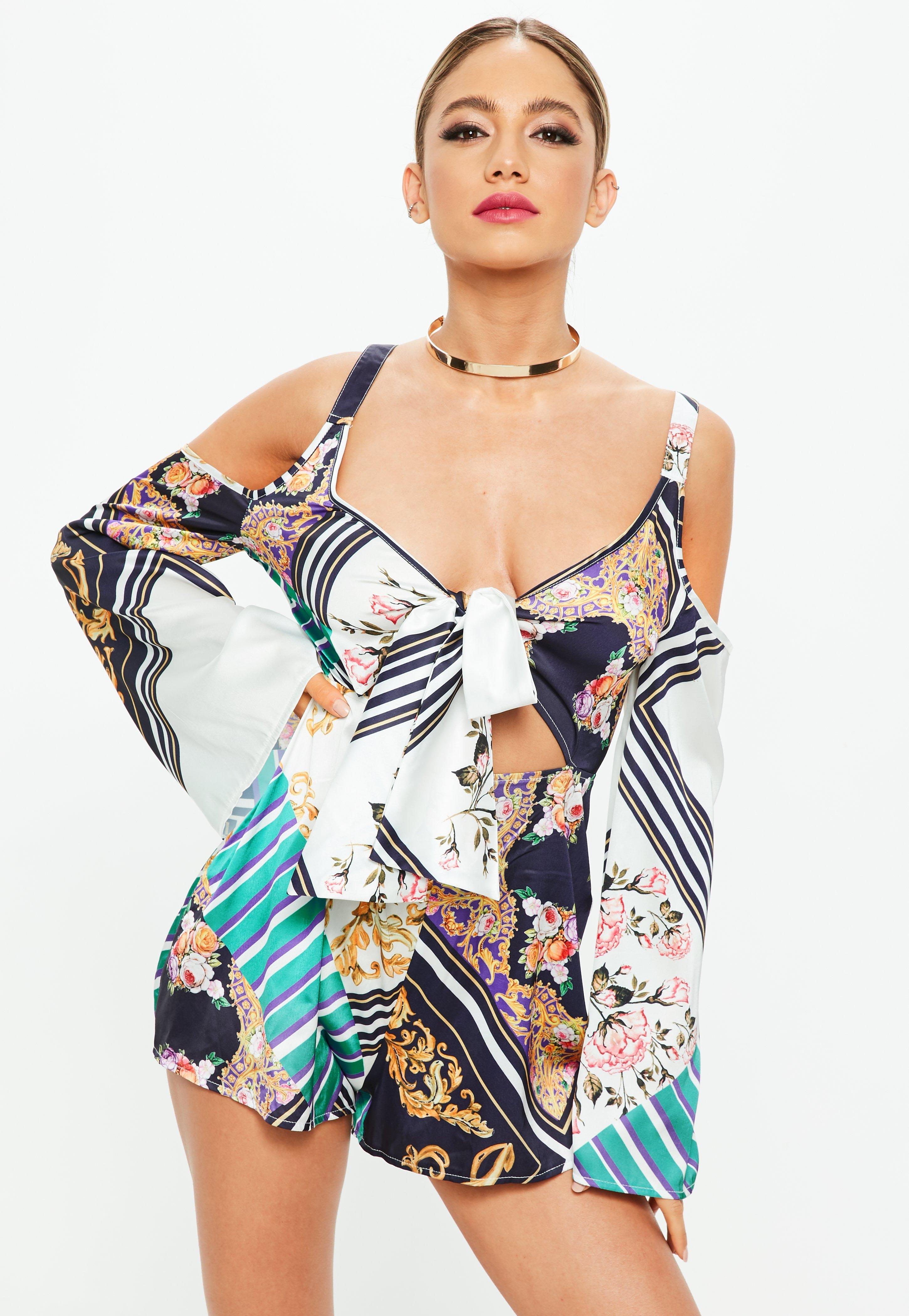 White Printed Cold Shoulder Playsuit