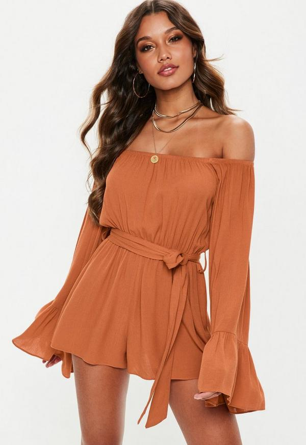 148ce3d74e Rust Flare Sleeve Bardot Playsuit