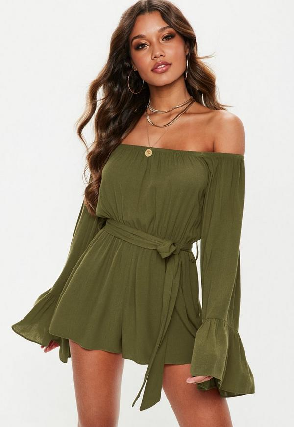 a754d06b116 ... Khaki Flare Sleeve Bardot Playsuit. Previous Next