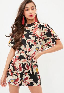 Black Floral Tie Waist Playsuit