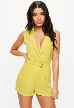 Chartreuse Sleeveless Lapel Wrap Romper