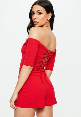 Red Lace Up Bardot Playsuit
