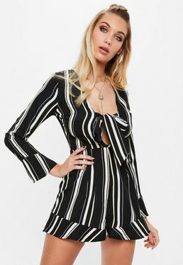Black Stripe Long Sleeve Romper