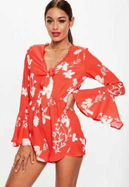 Red Tie Front Floral Playsuit
