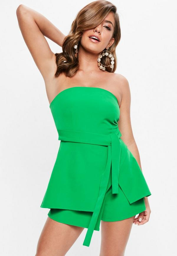 03db1406a6 green-bandeau-tie-waist-skort-playsuit by missguided