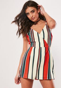 Red Striped Wrap Front Pleated Romper