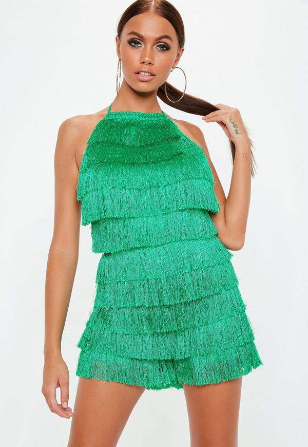 Green Fringe 90s Neck Playsuit by Missguided