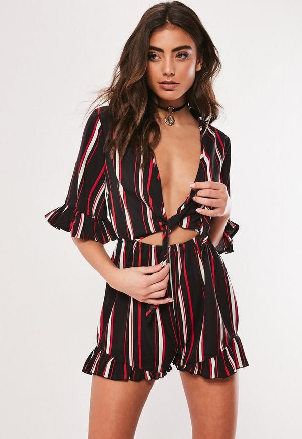 Black Stripe Tie Front Kimono Playsuit by Missguided
