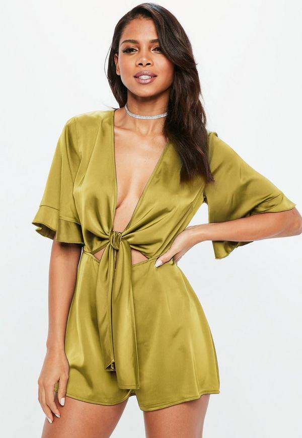 4d6979ee4f Chartreuse Satin Tie Front Kimono Sleeve Playsuit. Previous Next