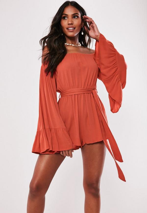f655278158c Orange Flare Sleeve Bardot Playsuit