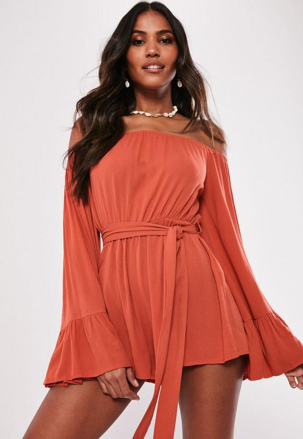 22a7869100 Orange Flare Sleeve Bardot Playsuit. Previous Next