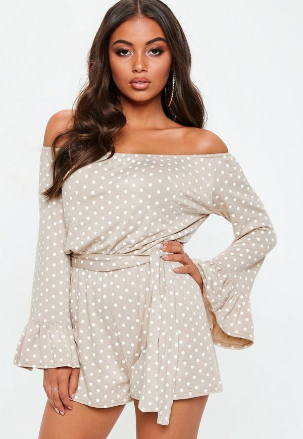 Nude Polka Dot Bardot Tie Waist Jersey Playsuit by Missguided