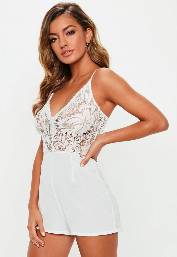 368def68deae White Strappy Lace V Front Playsuit