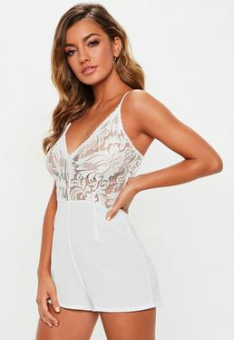 0f835576380 White Lace Playsuits