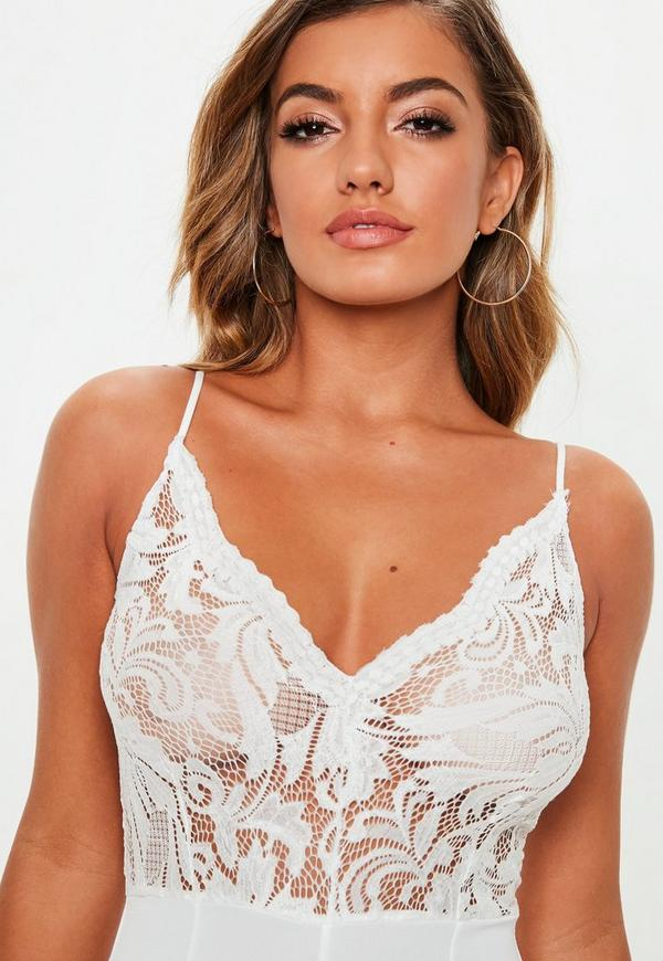 ab621e4ef89a White Strappy Lace V Front Playsuit. Previous Next